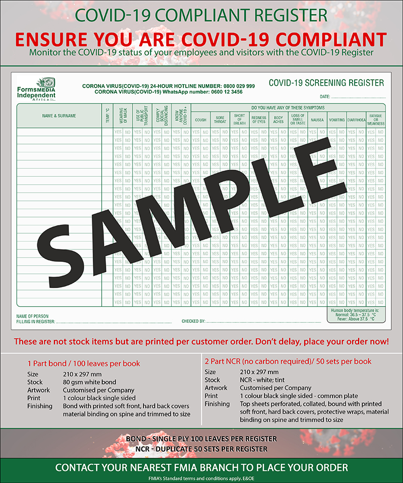 Generic Covid Status Register WEB
