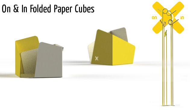 on in folded paper cubes