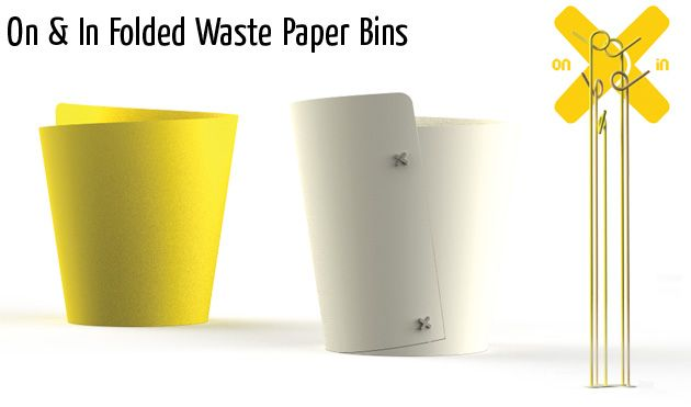 on in folded waste paper bins