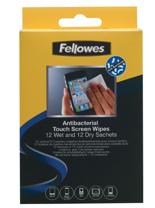 12 antibacterial touch screen sachets
