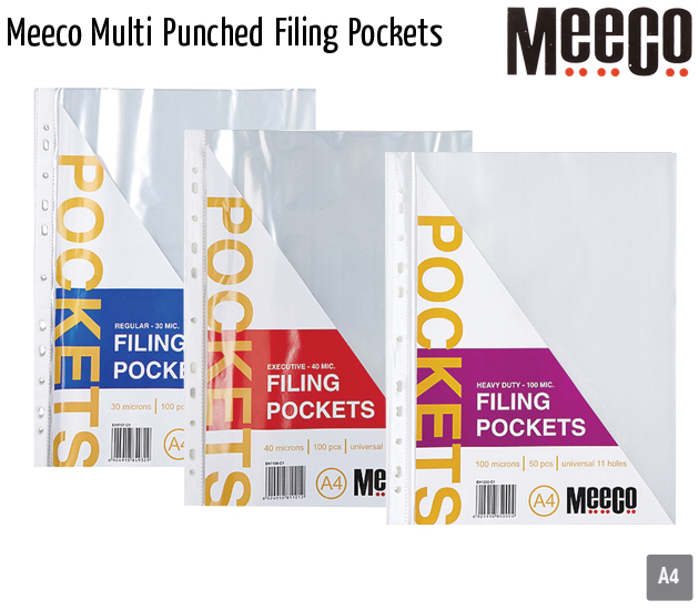 meeco multi punched filing pockets