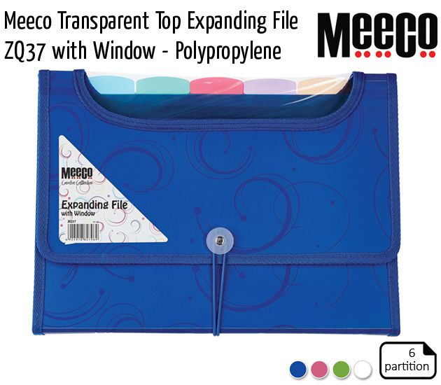 meeco transparent top expanding file zq37