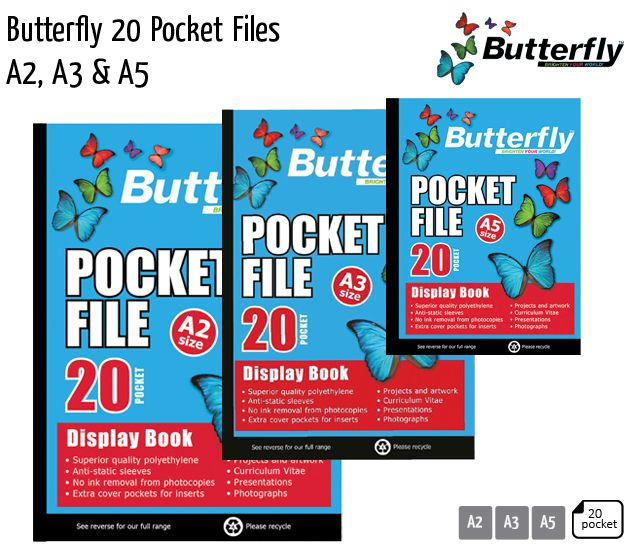 butterfly 20 pocket files