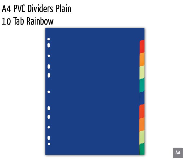 a4 pvc dividers plain 10 tab rainbow
