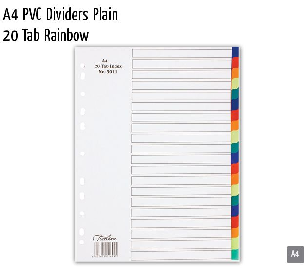 a4 pvc dividers plain 20 tab rainbow
