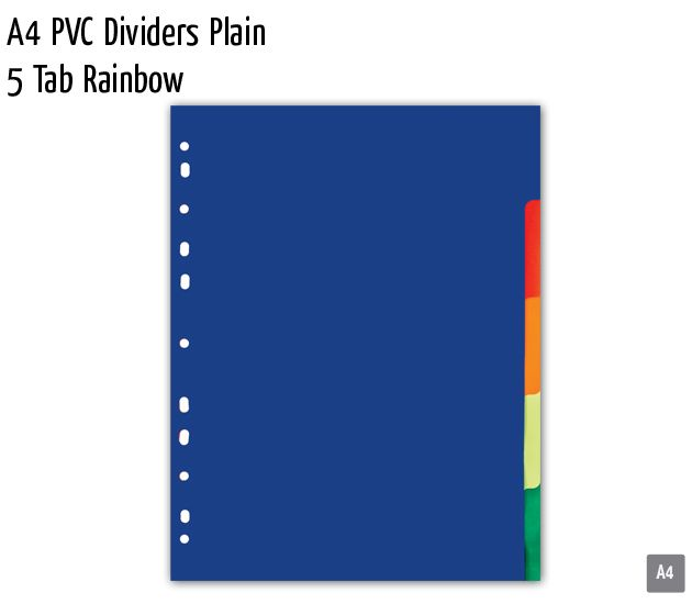 a4 pvc dividers plain 5 tab rainbow