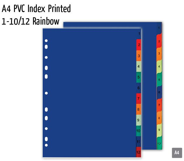 a4 pvc index printed 1 10 12 rainbow