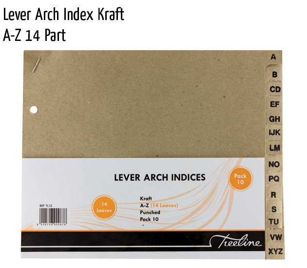 lever arch index kraft a z 14 part