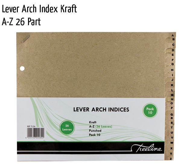 lever arch index kraft a z 26 part