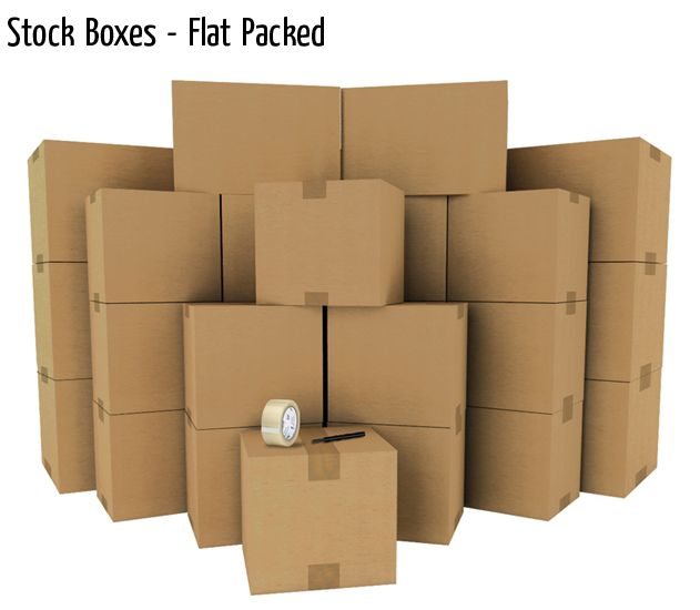stock boxes flat packed