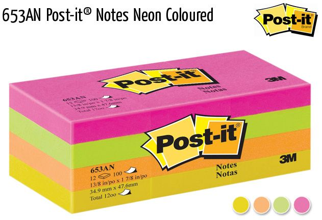 653an post it notes neon coloured