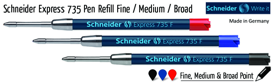 ballpoint schneider express 735 pen refill fine medium broad