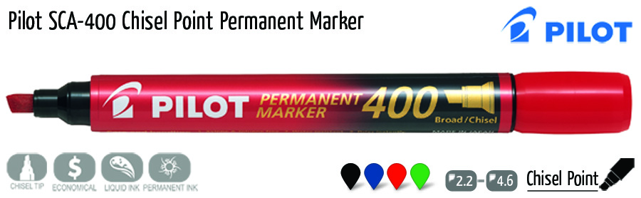 permanent markers pilot sca 400 chisel point permanent marker