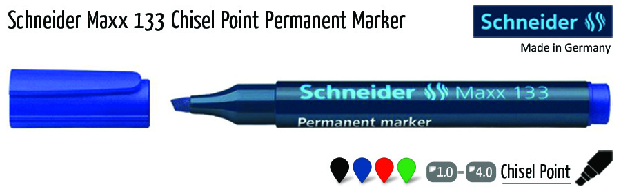 permanent markers schneider maxx 133 chisel point permanent marker
