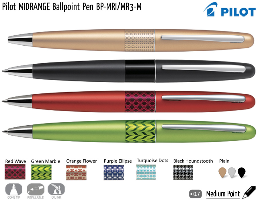 premium writing pilot midrange bp mri mr3 m